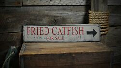 Fried Catfish For Sale Sign - Rustic Hand Made Vintage Wooden Sign