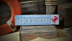 Custom Beach Bum Bbq Crab Sign - Rustic Hand Made Vintage Wooden Sign