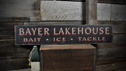 Custom Lakehouse Bait Ice Tackle Sign -rustic Hand Made Vintage Wood
