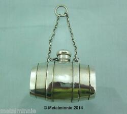 Victorian Novelty Solid Silver Barrel Perfume Bottle With 2 Pillboxes 1872