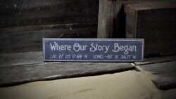 Custom Where Our Story Began Sign - Rustic Hand Made Vintage Wooden