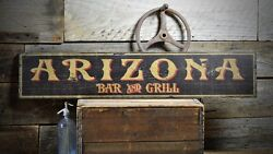 Custom Arizona Bar And Grill Sign -rustic Hand Made Vintage Wooden