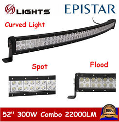 Curved 52inch 300w Led Work Light Bar Combo Driving Off Road Suv Car Boat 50/54