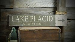 Custom Lake Placid New York Sign - Rustic Hand Made Vintage Wooden