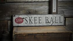 Distressed Skee Ball 1.00 Sign - Rustic Hand Made Vintage Wooden