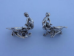 2 French Art Nouveau Small Solid Silver Mermaid Sculptures Waves Shells Bowls🐟