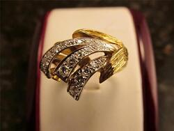 Vintage Retro Design 14k Solid Gold Cocktail Ring With 21 Diamonds Size 8.75