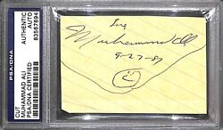 Muhammad Ali Signed 2x3.5 Cut Psa/dna Coa Boxing Autograph Greatest Of All Time