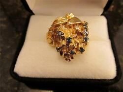 Vintage Retro Heavy Solid 14k Gold Blue Sapphire And Diamond Ring 18 Grams