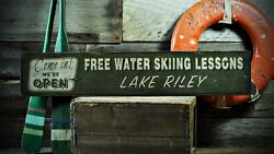 Custom Lake House Water Skiing Sign - Rustic Hand Made Vintage Wooden