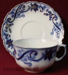 Johnson Brothers China Andorra Flow Blue Cup And Saucer Set 2-1/4 X 3-3/4 Cup