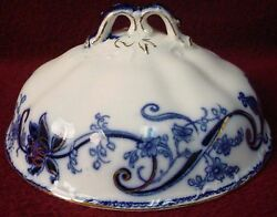 Johnson Brothers China Andorra Flow Blue Lid To The Round Covered Butter Dish