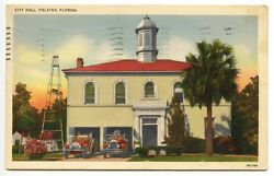 Palatka FL City Hall Fire Trucks Station 1940 Postcard