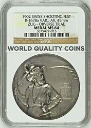 Swiss 1902 Silver Shooting Medal Zug Reverse Trial R-1678c One In The World Ngc
