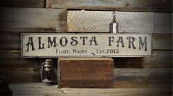 Custom City State Est. Date Farm Sign - Rustic Hand Made Vintage Wood