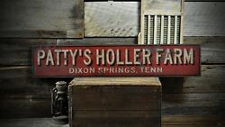 Custom Holler Farm City State Sign - Rustic Hand Made Vintage Wooden
