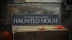 Custom Family Haunted House Sign -rustic Hand Made Halloween Wooden