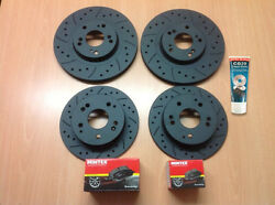 Civic Type R Ep3 Front Rear Drilled Grooved Mtec Brake Discs And Mintex Pads Andlube