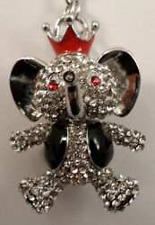 Rhinestone Bling Circus Elephant Good Luck Key Chain Purse Fob