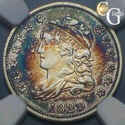 1829 Capped Bust Half Dime Rainbow Toning Ngc Au About Uncirculated Beautiful