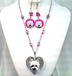 West Highland Terrier Handpainted Shell Earings &Heart on glass w pink FWP &SS