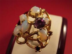 Vintage Retro Large Solid 14k Solid Gold Pink Sapphire Fire Opal Cocktail Ring