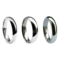 6mm 18ct White Gold Court Profile Wedding Rings Light Med And Heavy 750 Uk Hm Band