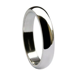4mm 950 Palladium D Shape Wedding Rings Profile Band 950 Uk Hallmarked 3.8-4.4g