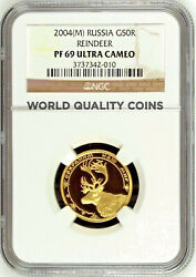 2004 Russia Gold 50 Roubles Safe Our World Reindeer Mintage-1500 Ngc Pf69 Rare