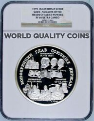 Russia 1995 Silver 1 Kilo Kg Coin 100 Rubles Wwii Allied Commanders Ngc Pf66