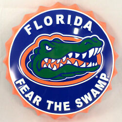 Florida Fear The Swamp Gators Fan Metal Bottle Top Sign 19 Diam Made In The Usa