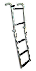 Pactrade Marine Boat Foldable S.s. 5 Steps Ladders With Rubber Grips 2+3 Steps
