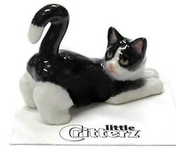 ➸ LITTLE CRITTERZ Cat Miniature Figurine Black and White Cat Kitten Chessie