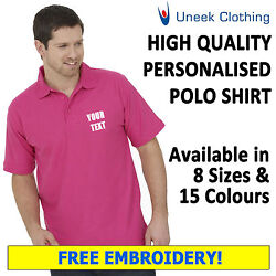 New 10 X Personalised Uneek Embroidered Polo Shirts Workwear Customised Polos