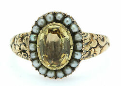 A Magnificent 2ct Golden Topaz And Seed Pearl Cluster Ring Circa 1800's