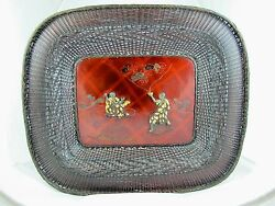 Japanese Meiji Period Bowl Made From Woven Bronze And Lacquer Ware Signed C1890and039s