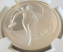 2005 Belarus Silver Coin 20 Roubles Female Tennis Player Ngc Pf69 Low Mintage