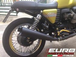 Moto Guzzi V7 /cafe Silmotor Exhaust Dual Silencers Black Stainless Steel