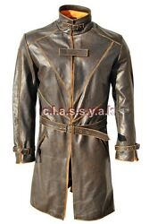 Classyak Men Watch Dog Bane Real Leather Coat High Quality Leather Xs-5xl
