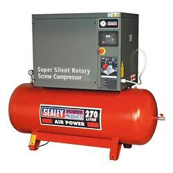 Sealey Air Screw Compressor Machine - 270ltr 10hp 3ph Low Noise - SSC12710