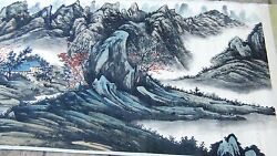 Antique Early 20c Chinese Horizontal Watercolor Andink Scroll W/sweeping Mountains