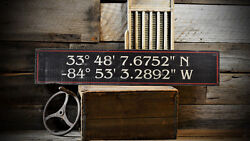 Custom Latitude And Longitude Sign - Rustic Hand Made Vintage Wooden