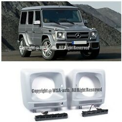 For 99-up MB W463 G-Class Front Fog Cover LED Daytime Running Smoke Lamp Cover