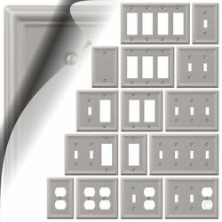 Wall Switch Plate Cover Chelsea Brushed Nickel Outlet Toggle Decora Rocker Metal