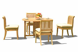 5-piece Outdoor Teak Dining Set 48 Butterfly Rnd Table 4 Armless Chairs Giva