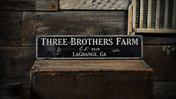 Custom Farm Est Date City State Sign - Rustic Hand Made Wooden