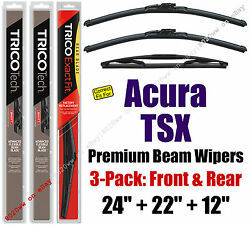 Wiper Blades 3-pack Premium Front Rear - Fit 2011-2014 Acura Tsx - 19240/220/12b