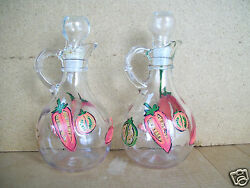 Vintage Set Of 2 Clear Glass Oil And Vinegar Cruets Bottles Hand Decorated