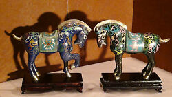 Pair Antique Early 20c Chinese Bronze Cloisonne Horse Statues
