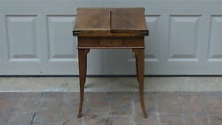 Antique Early 18c French Walnut Work Table W/fold Out Top And Flared Tapered Legs